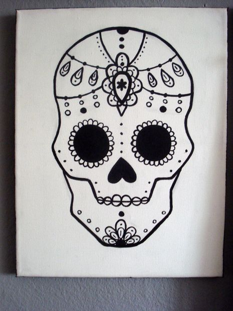 Drawn sugar skull Skull (with Skull Painting 24