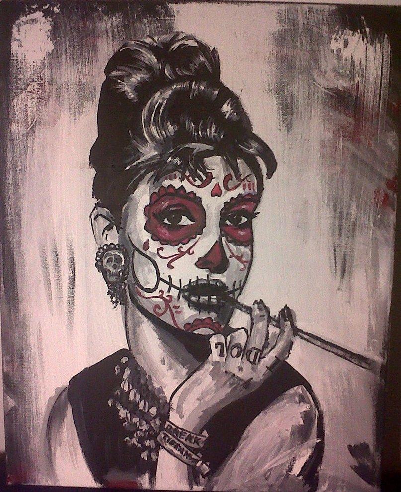 Drawn sugar skull audrey hepburn Skull Hepburn Sugar by AdamBayes