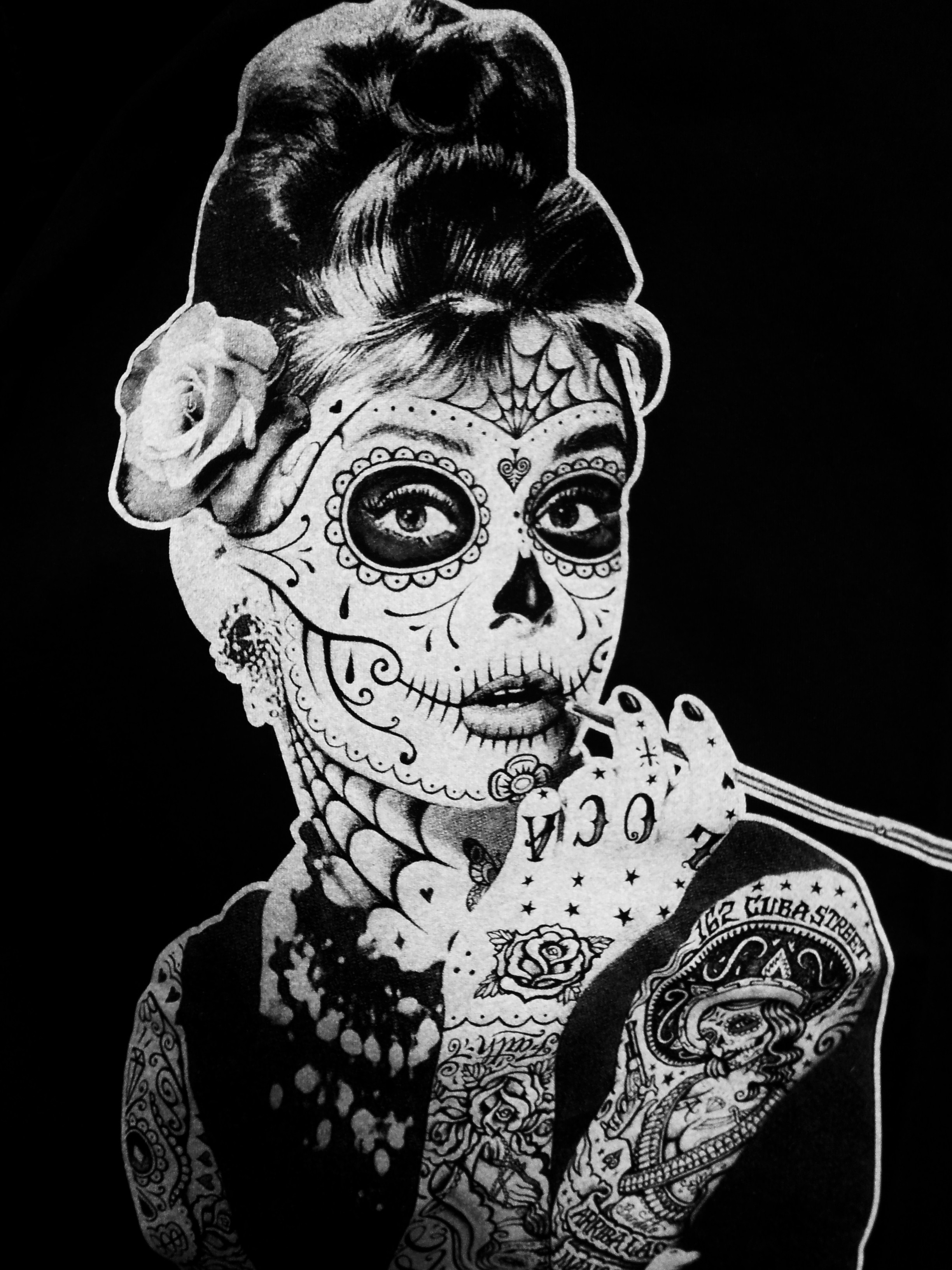 Drawn sugar skull audrey hepburn At i as Hepburn ever
