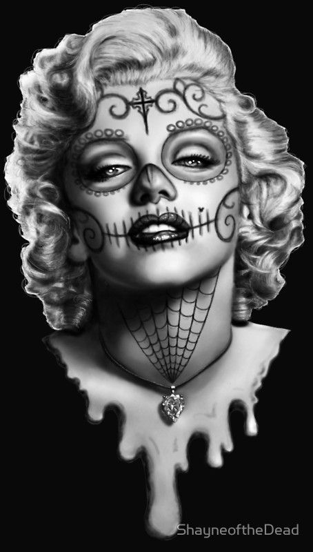Drawn sugar skull audrey hepburn Monroe Skull The monroe tattoo