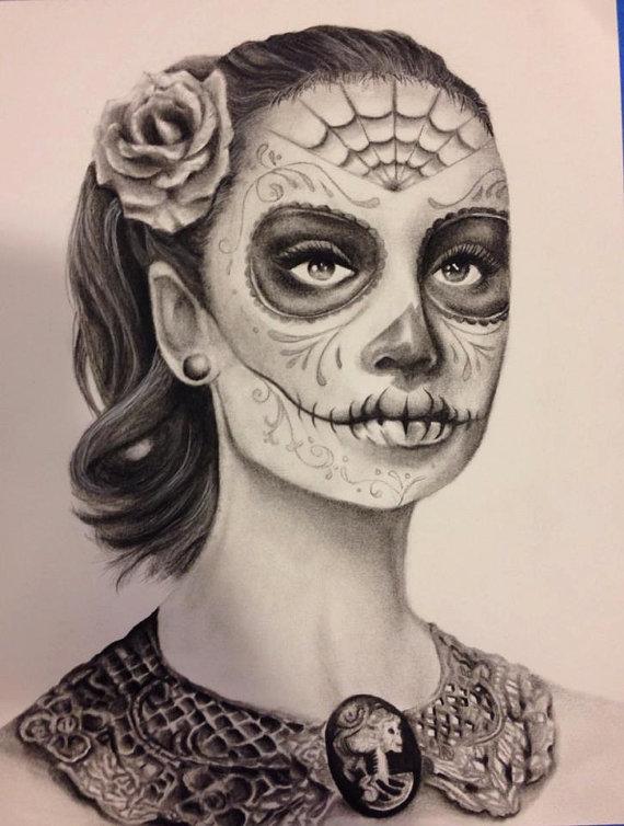 Drawn sugar skull audrey hepburn Hepburn Skull Hepburn Sugar Skull
