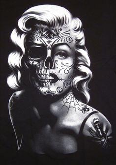Drawn sugar skull audrey hepburn Monroe 10 skull De Pinterest