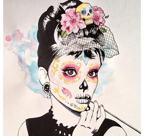 Drawn sugar skull audrey hepburn Hepburn Skull Sugar Travelling