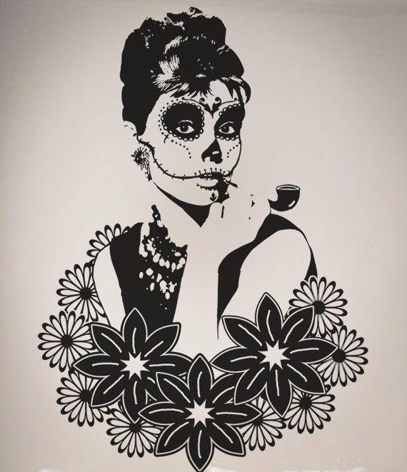 Drawn sugar skull audrey hepburn Hepburn Decal Vinyl skull Pinterest