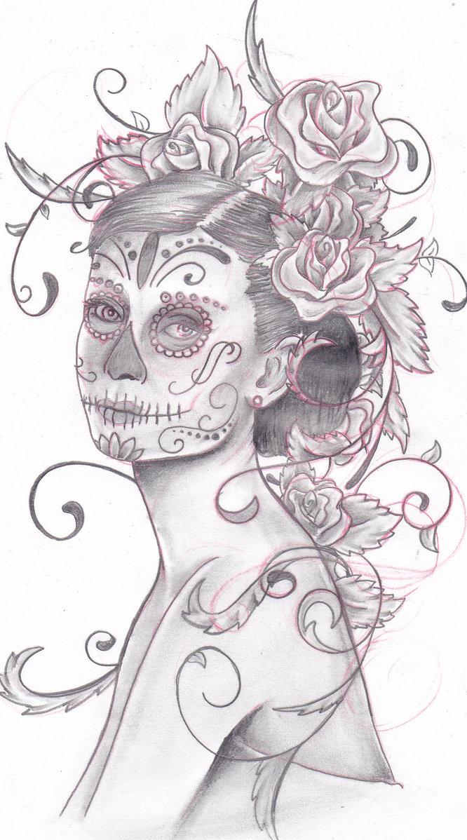 Drawn sugar skull audrey hepburn Hepburn Skull Audrey by trippkayaris