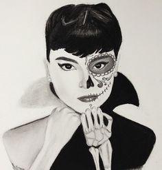 Drawn sugar skull audrey hepburn Winged sugar Audrey Sugar Skull
