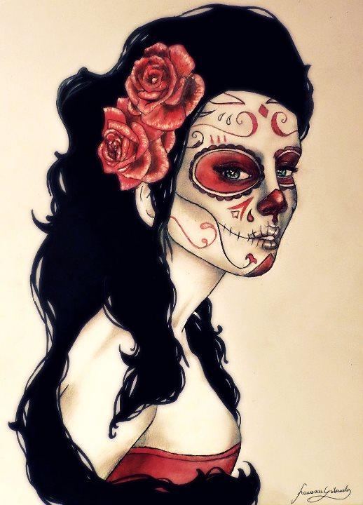 Drawn sugar skull audrey hepburn Skull VelenoRosso9 by skull sugar