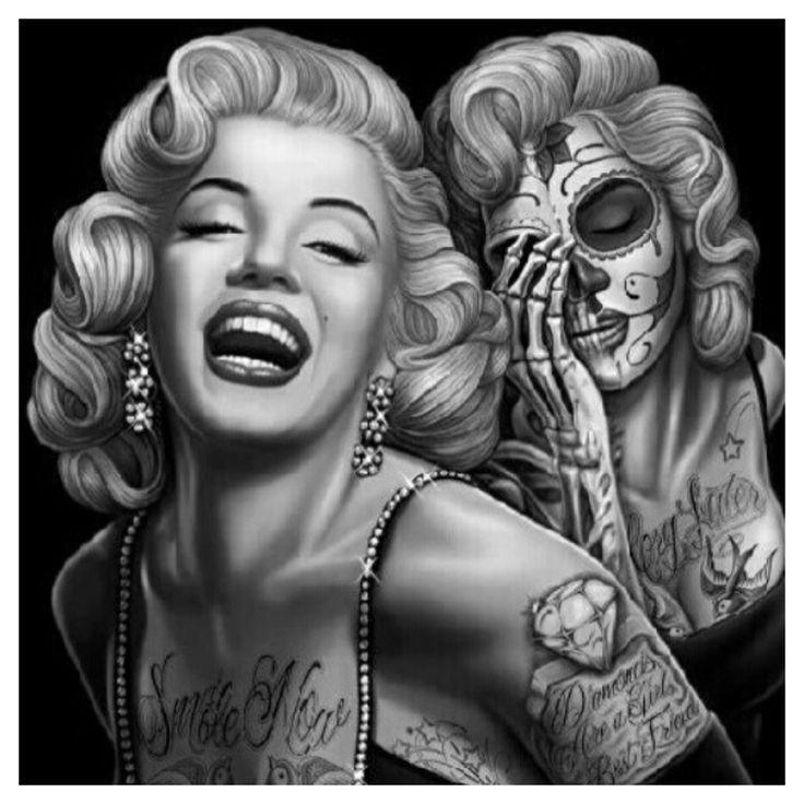 Drawn sugar skull audrey hepburn This and eye candies Pinterest