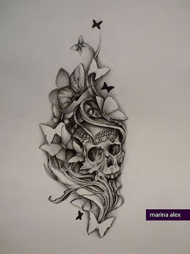 Drawn sugar skull butterfly Rose Flickr Photo images and
