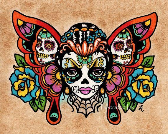Drawn sugar skull butterfly Art 14 Skull best BUTTERFLY