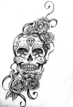 Drawn sugar skull butterfly 25+ tattoo Google Rose sleeve