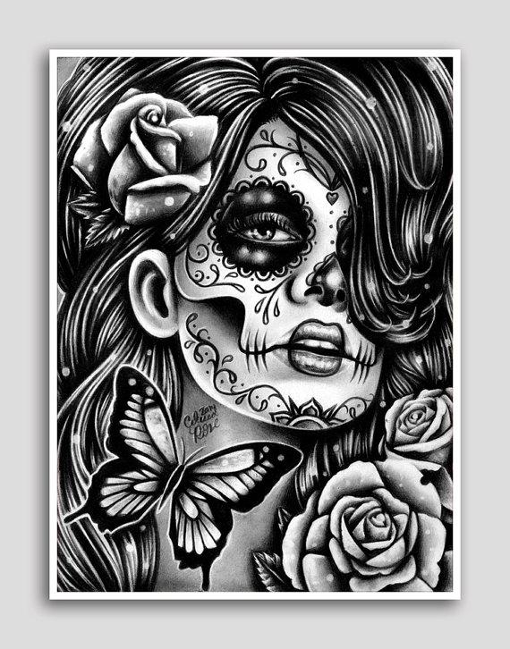 Drawn sugar skull butterfly Art Sugar Sugar Butterfly Skull