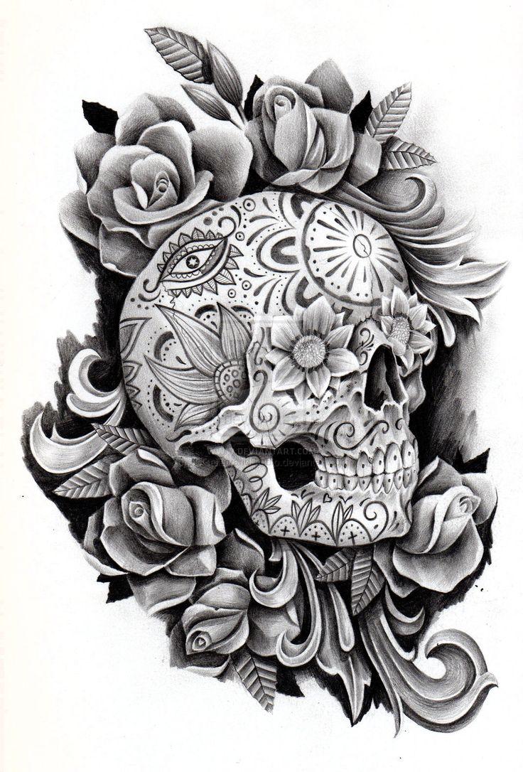 Drawn sugar skull butterfly @deviantART  by JCGalleryandStudio on