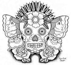 Drawn sugar skull butterfly Dpi  Candy sugar Roses