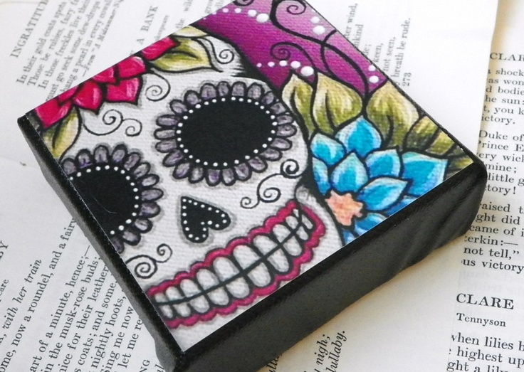Drawn sugar skull canvas 00 candy  MOUNTED painting
