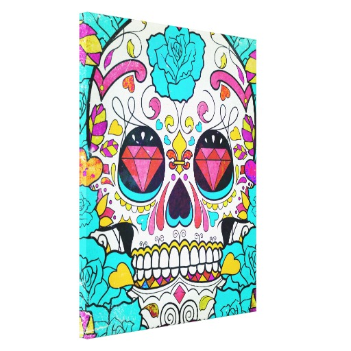 Drawn sugar skull canvas Hipster  Roses Blue Floral