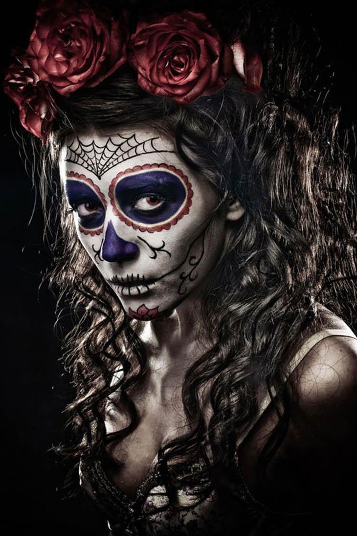 Drawn sugar skull creepy Skull Makeup 55 Look Halloween