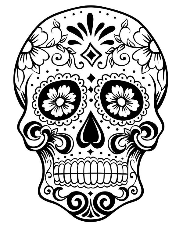 Drawn sugar skull dia de los muertos Skull of Coloring Sugar Halloween