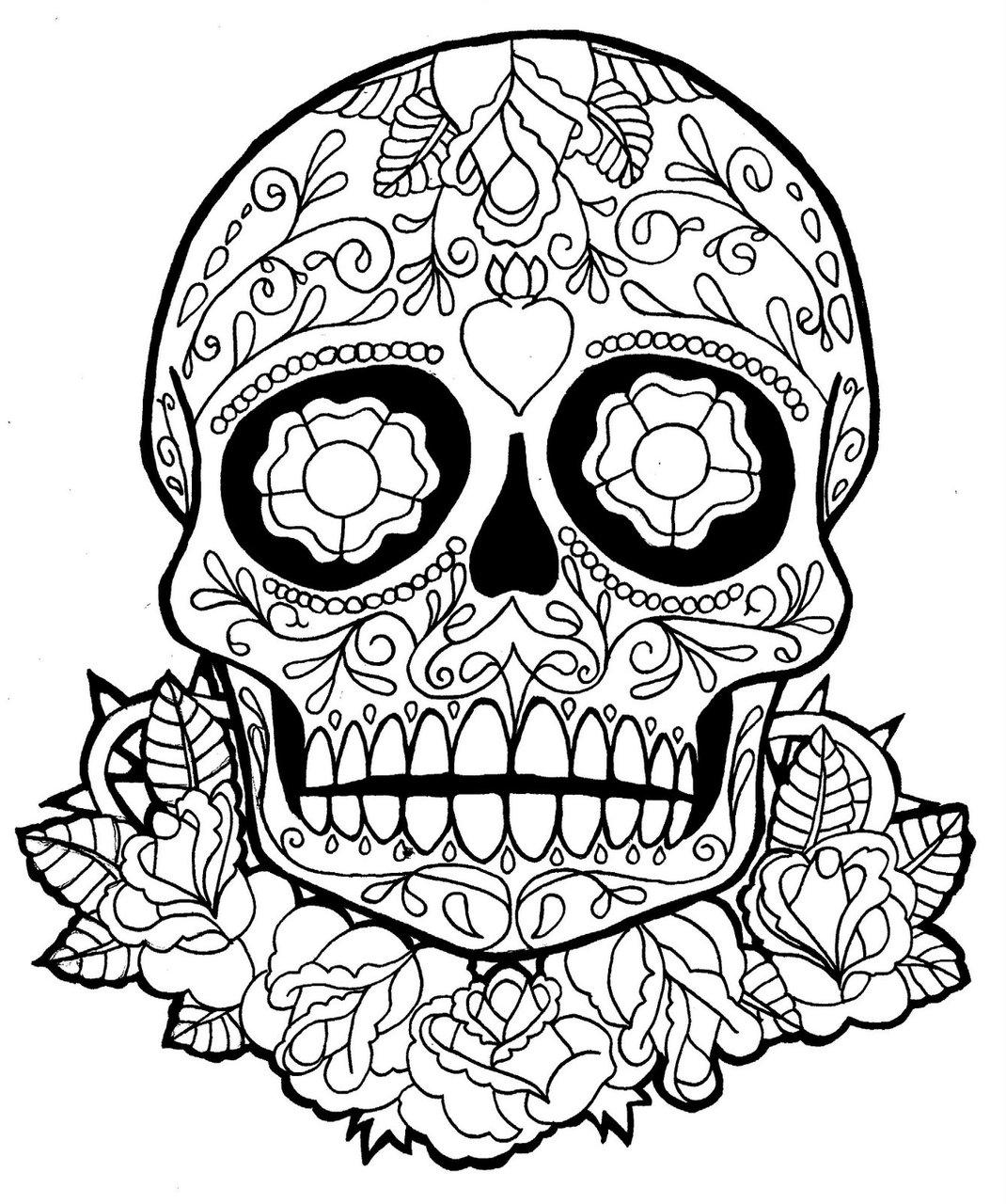 Drawn sugar skull dia de los muertos Edudenecochea má Holiday  Halloween