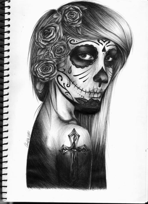 Drawn sugar skull girly Girl Skull Sketch Sketch klejonka