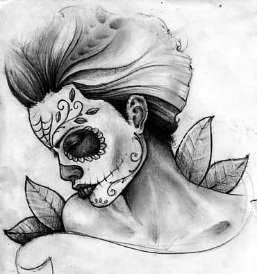 Drawn sugar skull girly On ~seniorpepper deviantART by grieving