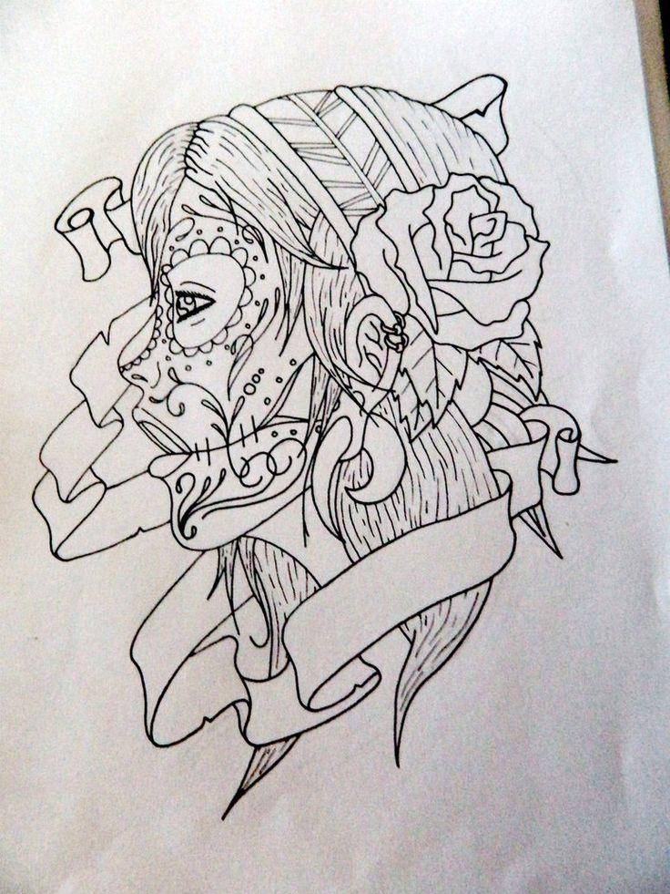 Drawn sugar skull girly Best 49 on Drawing Tattoos