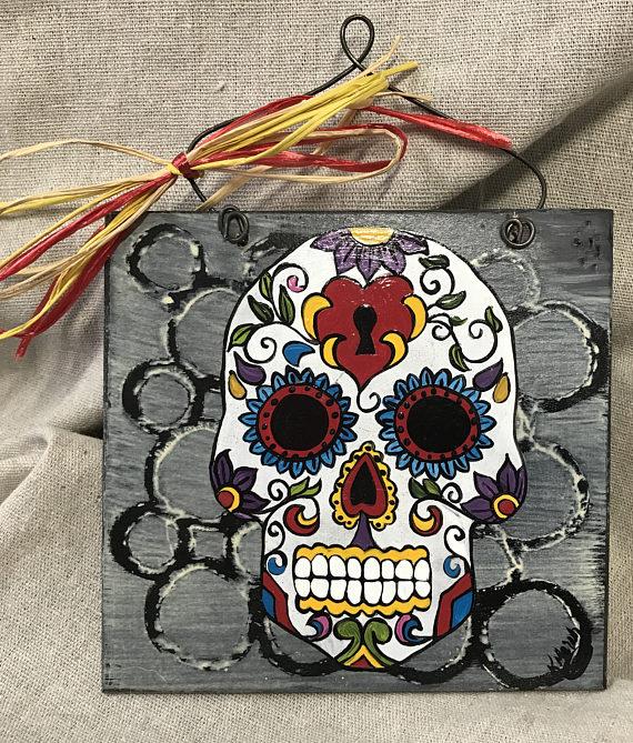 Drawn sugar skull hand painted Skulls wooden painted sign Sugar