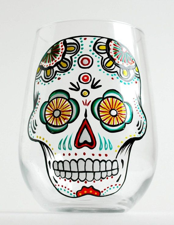 Drawn sugar skull hand painted 80 Stemless Painted on of