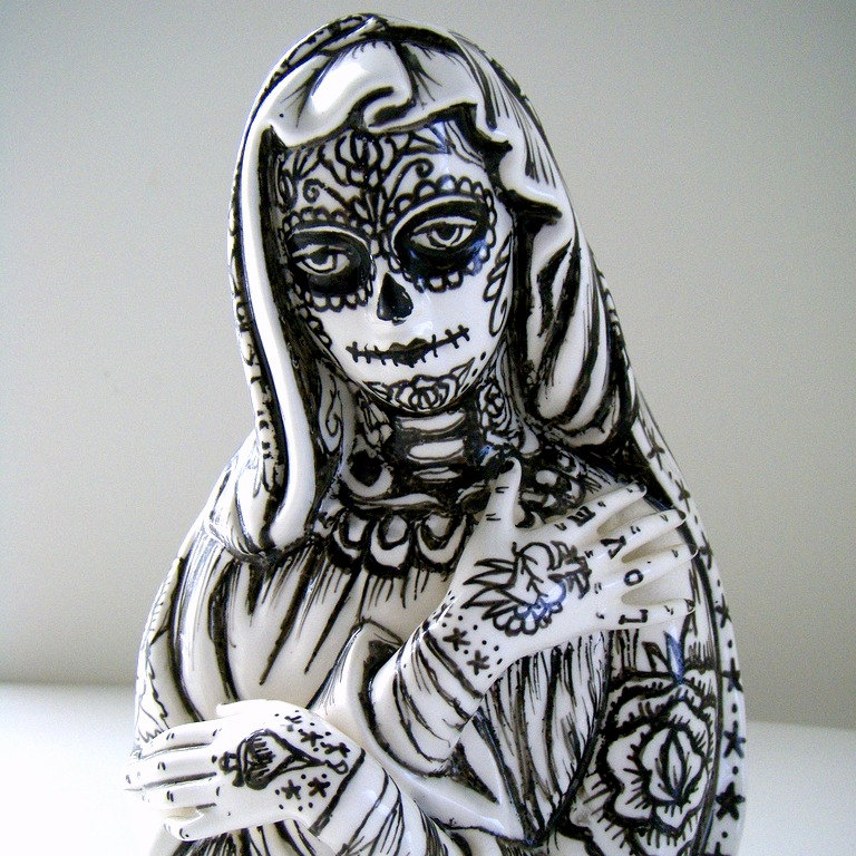 Drawn sugar skull hand painted White Dead of Day Art