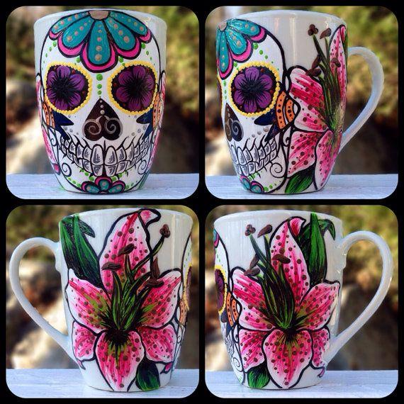 Drawn sugar skull hand painted Pinterest skull sugar Skulls on