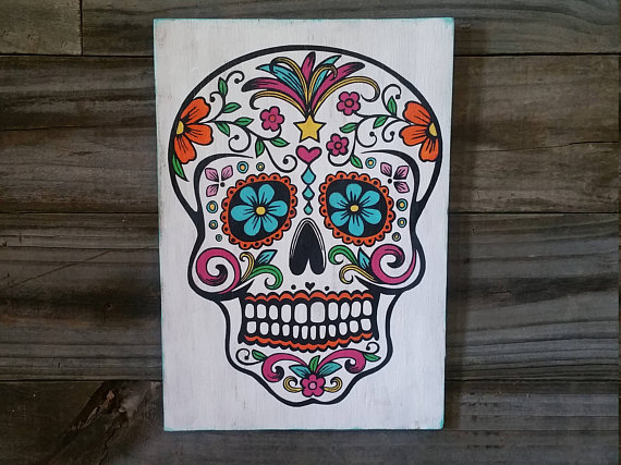 Drawn sugar skull hand painted My Painted Hand Painted Sign