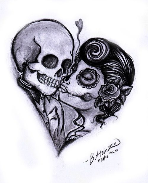 Drawn sugar skull love More this on images Pinterest