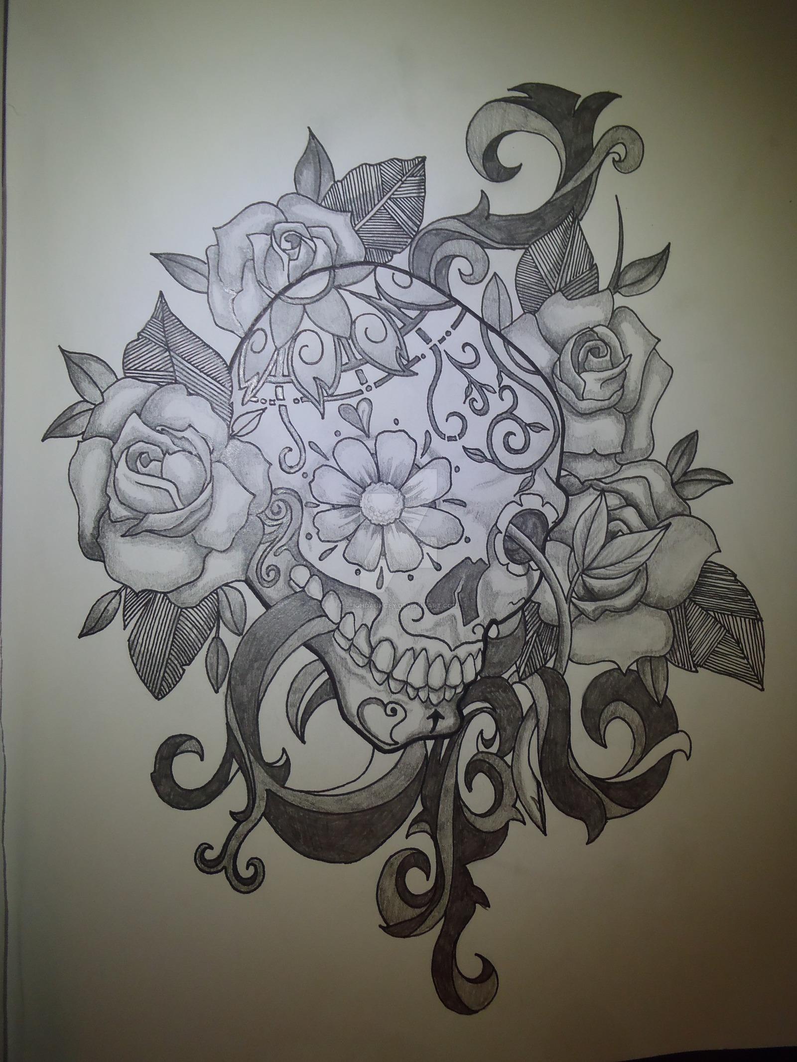 Drawn sugar skull pencil drawing Re Sugar Skull' Re DeviantArt