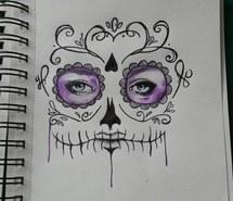 Drawn sugar skull pencil drawing Drawing pencil images drawings pink