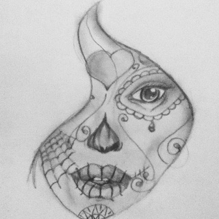 Drawn sugar skull pencil drawing Just please on you stich