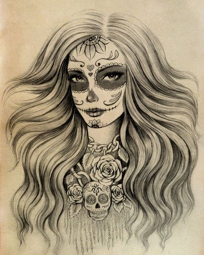 Drawn sugar skull skeleton head Art Print of Skull Pinterest