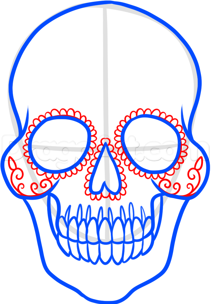Drawn sugar skull step by step How Step a step by