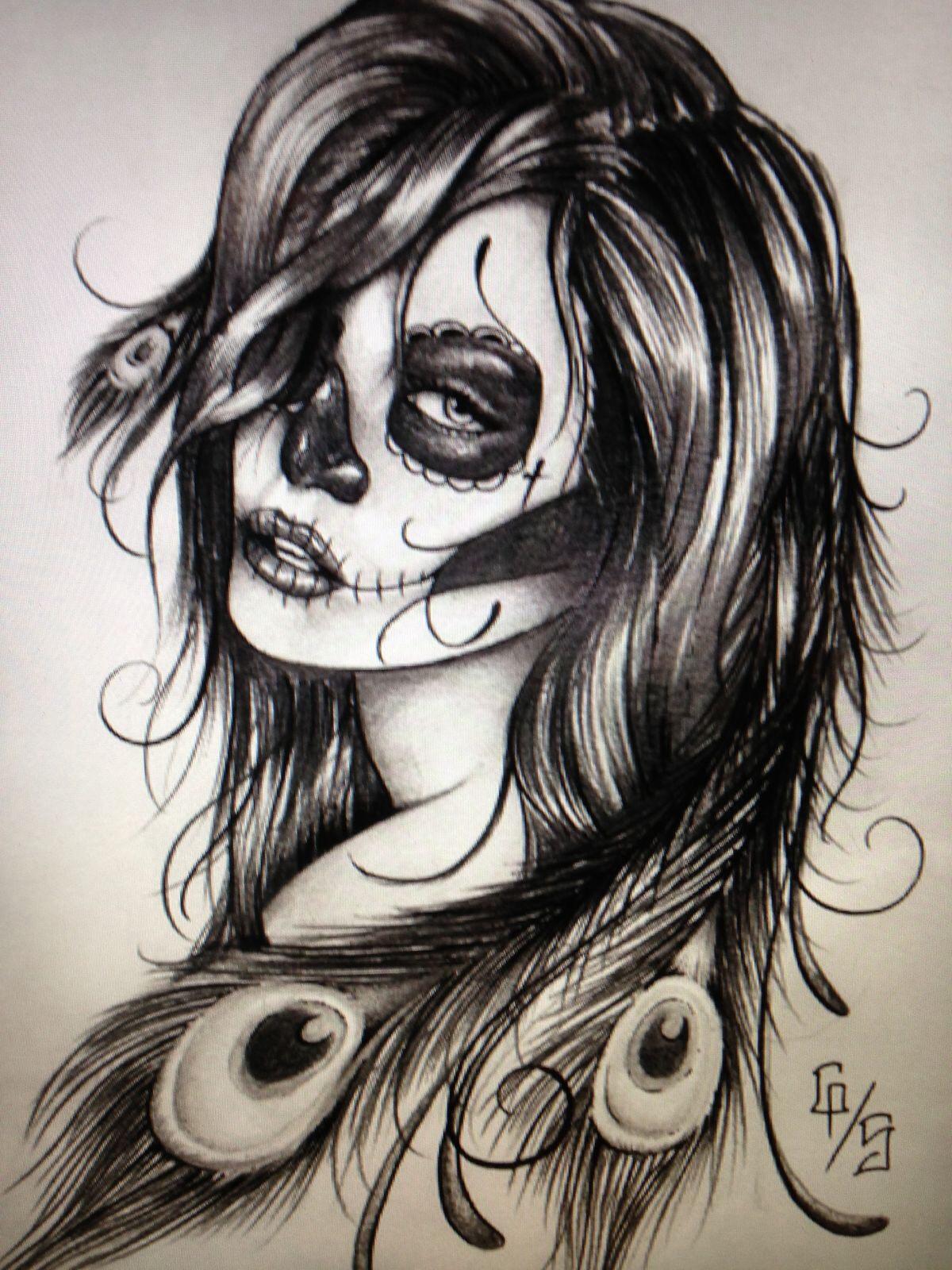 Drawn sugar skull zombie Future skull zombie tattoo sugar