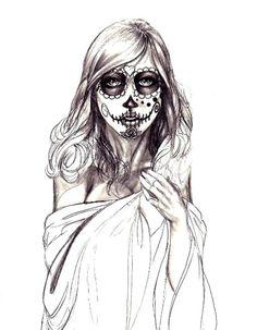 Drawn sugar skull zombie Pin Sugar Skull  and