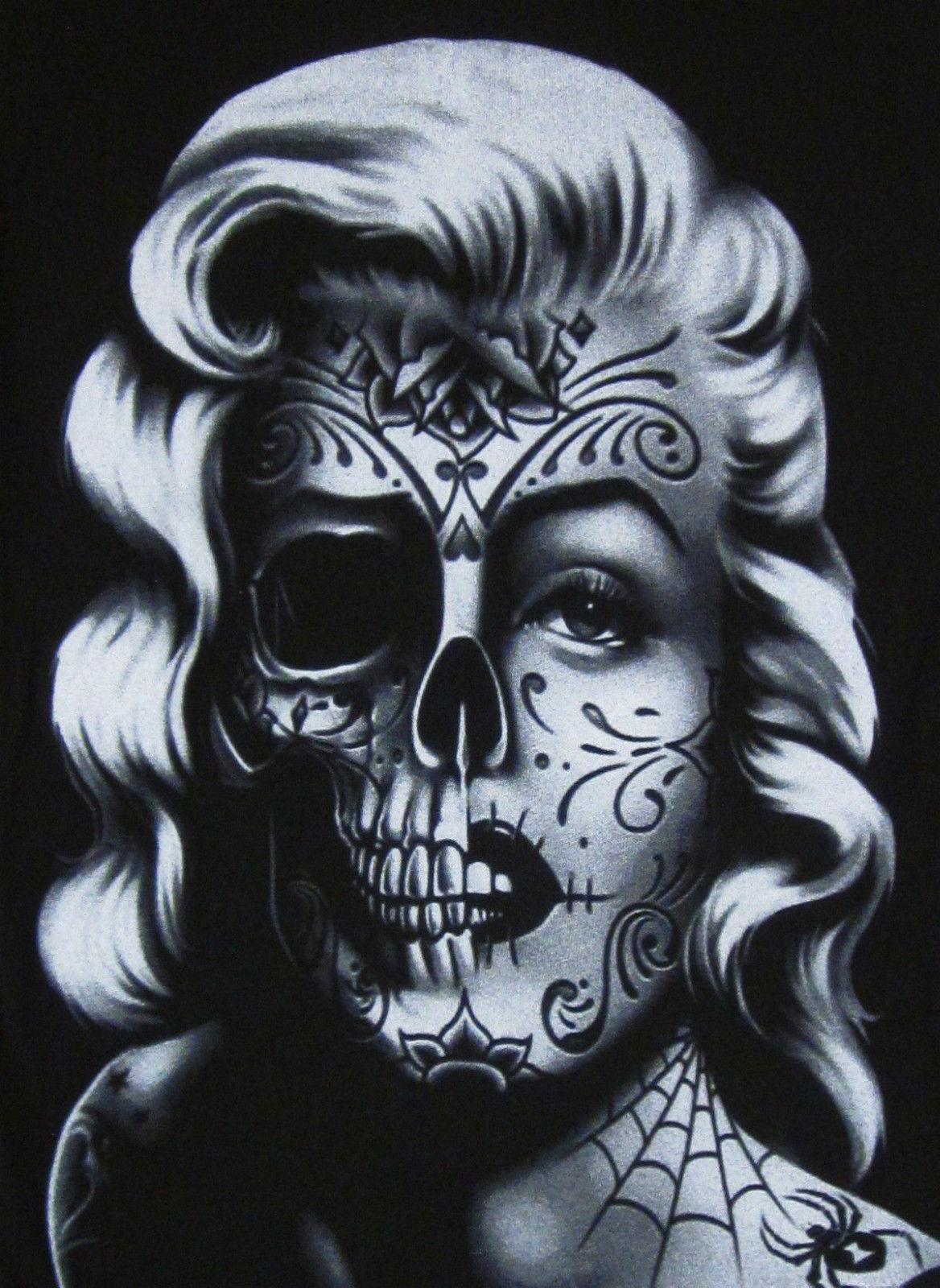 Drawn sugar skull zombie Women Tattoo Adult zombie Marilyn