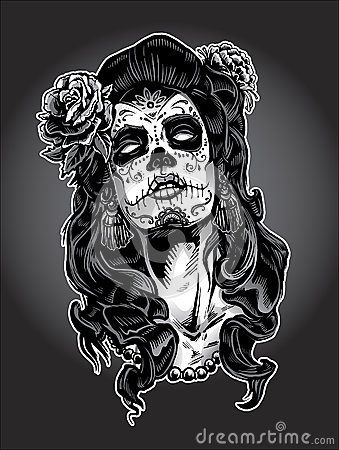 Drawn sugar skull zombie The Paint Day Paint Dead