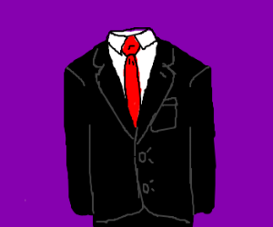 Drawn suit Red A black black tie