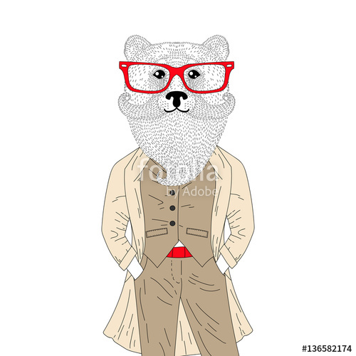 Drawn suit bear In classic bear with drawn