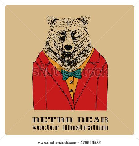 Drawn suit bear Bear suit retro best on