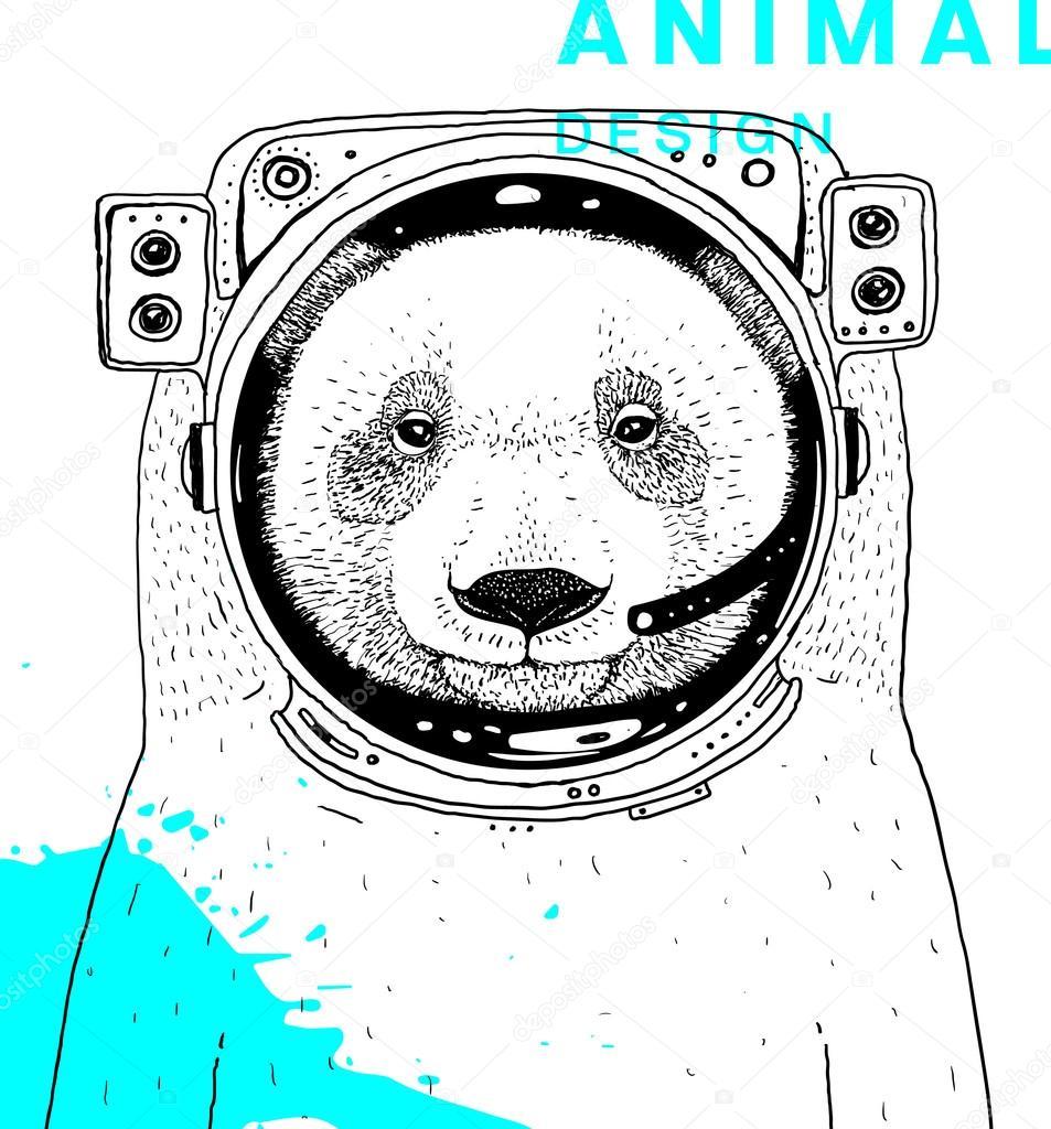 Drawn suit bear Astronaut Space Bear Ozerina Space