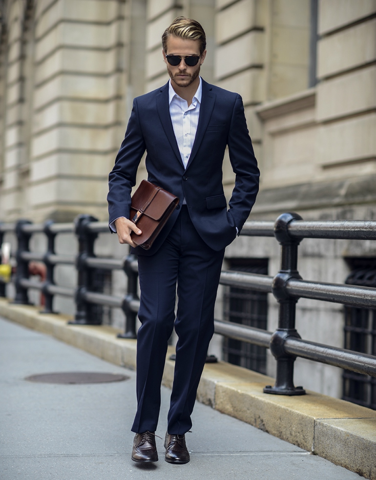 Drawn suit classic navy Bag Conquer Wardrobe Street Idle