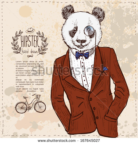 Drawn suit hipster Stock vector hand in drawn