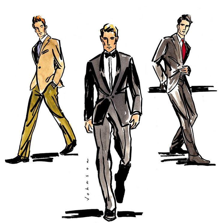 Drawn men suit illustration #3