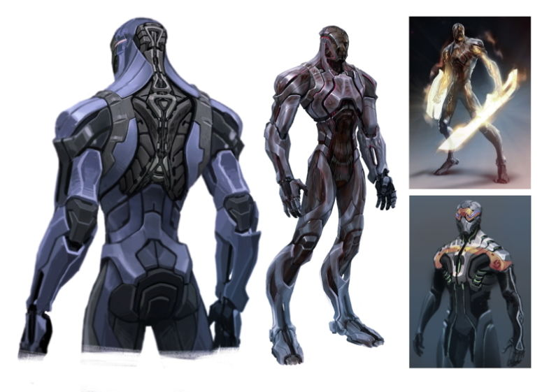 Drawn suit robot Armoured Cyborg Shield Warrior to