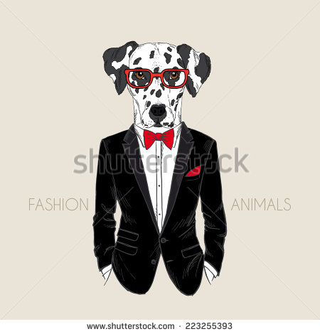 Drawn suit Dressed in tuxedo drawn dog